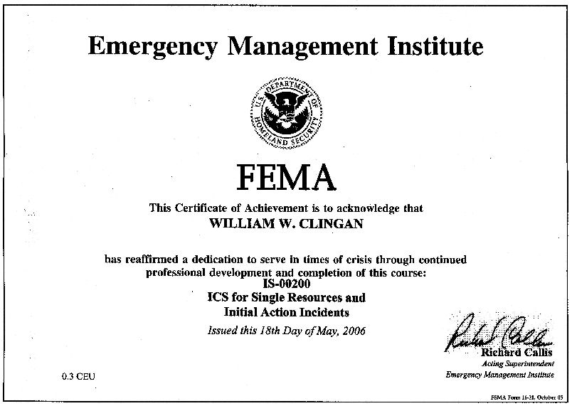 FEMA Certificates - Bill Clingan (KC0ONR)
